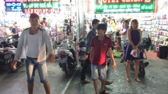 Night market in Quang Trung street in Go Vap district Stock Footage