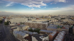 Panoramic view of the building from the roof of center Moscow timelapse, Russia Stock Footage