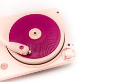 Vintage pink record player. Kuvituskuvat