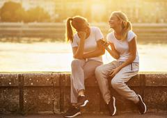 Stock Photo of Friendship, two girls having fun
