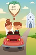 Bride and groom riding a car after wedding Stock Illustration