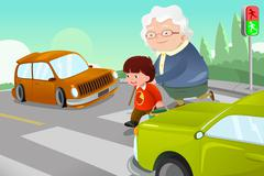 Kid helping senior lady crossing the street Stock Illustration