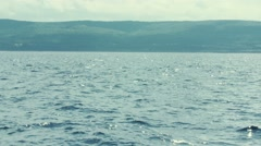 The coastline of Cape Breton Island from the ocean Stock Footage