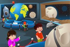 Kids on a field trip to a planetarium Stock Illustration