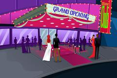 People going to a grand opening of a building - stock illustration