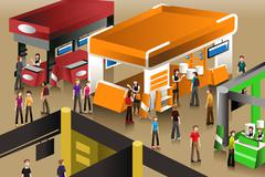 The scene at an exhibition booths - stock illustration
