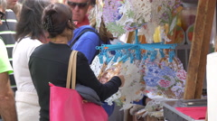 Buying souvenirs on the street in Prague Stock Footage