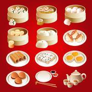 Dim sum icons - stock illustration