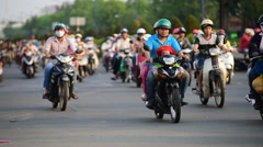 Many bikers in HCMC Go Vap district in Saigon Stock Footage
