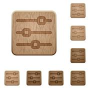 Horizontal adjustment wooden buttons - stock illustration
