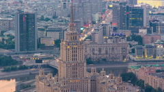 Building formerly known as the hotel Ukraine timelapse, skyscrapers Stalin Stock Footage