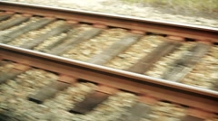 Train Rail shot from a moving trail Stock Footage
