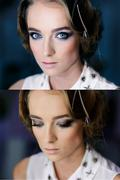 Beautiful girl's face with Perfect Makeup smoky eyes. Opened and closed blue  - stock photo