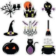 Halloween icons  labels including owl, tree, pumpkin, hunted castle ruins - stock illustration