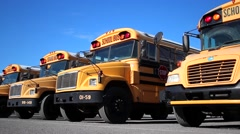 School Bus in Row  - stock footage