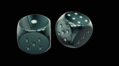 Two dices repeatly rotating - stock footage