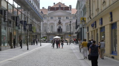 Tourists walking on Havirska street in Prague Stock Footage