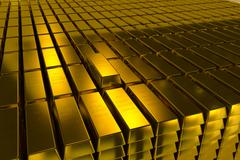 Gold bars block Three Dimension concept - stock photo