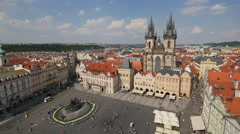 Old Town Square with the Church of our Lady before Týn seen from above, Prague Stock Footage