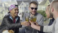 Two Gay Couples Toast With Wine In Alamo Square, San Francisco - stock footage