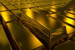 Gold bars block Three Dimension concept Stock Photos
