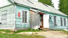 Old Shop Building in Russian Karelian Village Kojvuselga Stock Footage