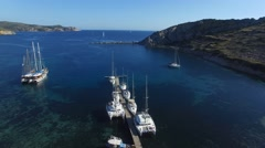 Yachts in beautiful bay. Stock Footage