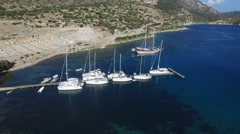 Sailboats are berthed in small bay. Stock Footage
