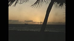 Vintage 16mm film, 1956, Key West, tropical beach sunset Stock Footage