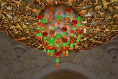 Chandelier design closeup view - Colorful Lights - stock photo