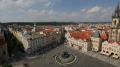 Jan Hus Memorial and Church of our Lady seen from above in Prague Stock Footage