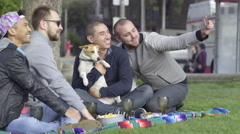 Two Gay Couples Enjoy A Picnic In Park, Take Selfies Together With Dog Stock Footage