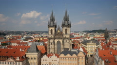 The Church of our Lady before Týn in Prague Stock Footage