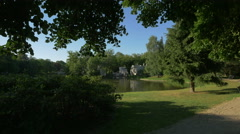 A sunny day at Staw Belwederski in Lazienki Park, Warsaw Stock Footage