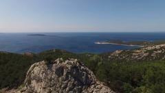 Aerial - Flyover coastal mountain top Stock Footage