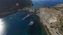 Flying over a pretty little bay Knidos. Stock Footage