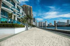 Seafront near luxury buildings and skyscrapers in Miami, Florida - stock photo