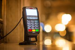 Credit Card payment Terminal at ticket office at Grand Central railway statio - stock photo