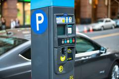 Car and parking machine with electronic payment at New York citi parking Stock Photos