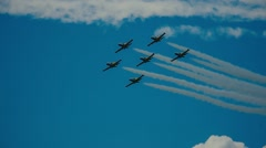 L-39, aerobatic team Baltic Bees , air show MAKS2015 - stock footage