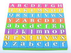 Alphabets in a puzzle set closeup view - stock photo