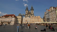 Old Town Square with church and restaurants, Prague Stock Footage