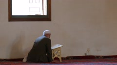 Muslims read the Koran. Edirne, Turkey. Old Mosque - Eski Mosque Stock Footage