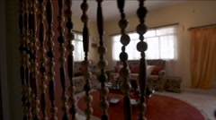 Beaded curtain in living rooom - stock footage