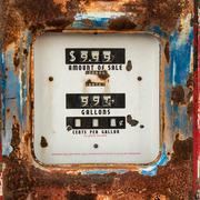 Old rusty counter on gasoline retro pump . Stock Photos