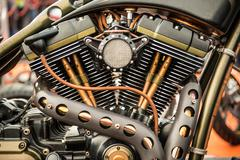 Close up view of a custom motorcycle engine Stock Photos