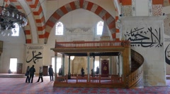 Interior Edirne, Turkey. Old Mosque - Eski Mosque Stock Footage
