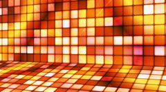 Broadcast Twinkling Hi-Tech Cubes Stage, Orange, Abstract, Loopable, HD Stock Footage