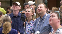 Tourists looking up on the street in Prague Stock Footage