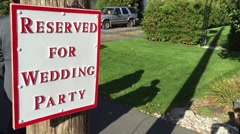 Sign proclaiming Area Reserved for wedding party Stock Footage